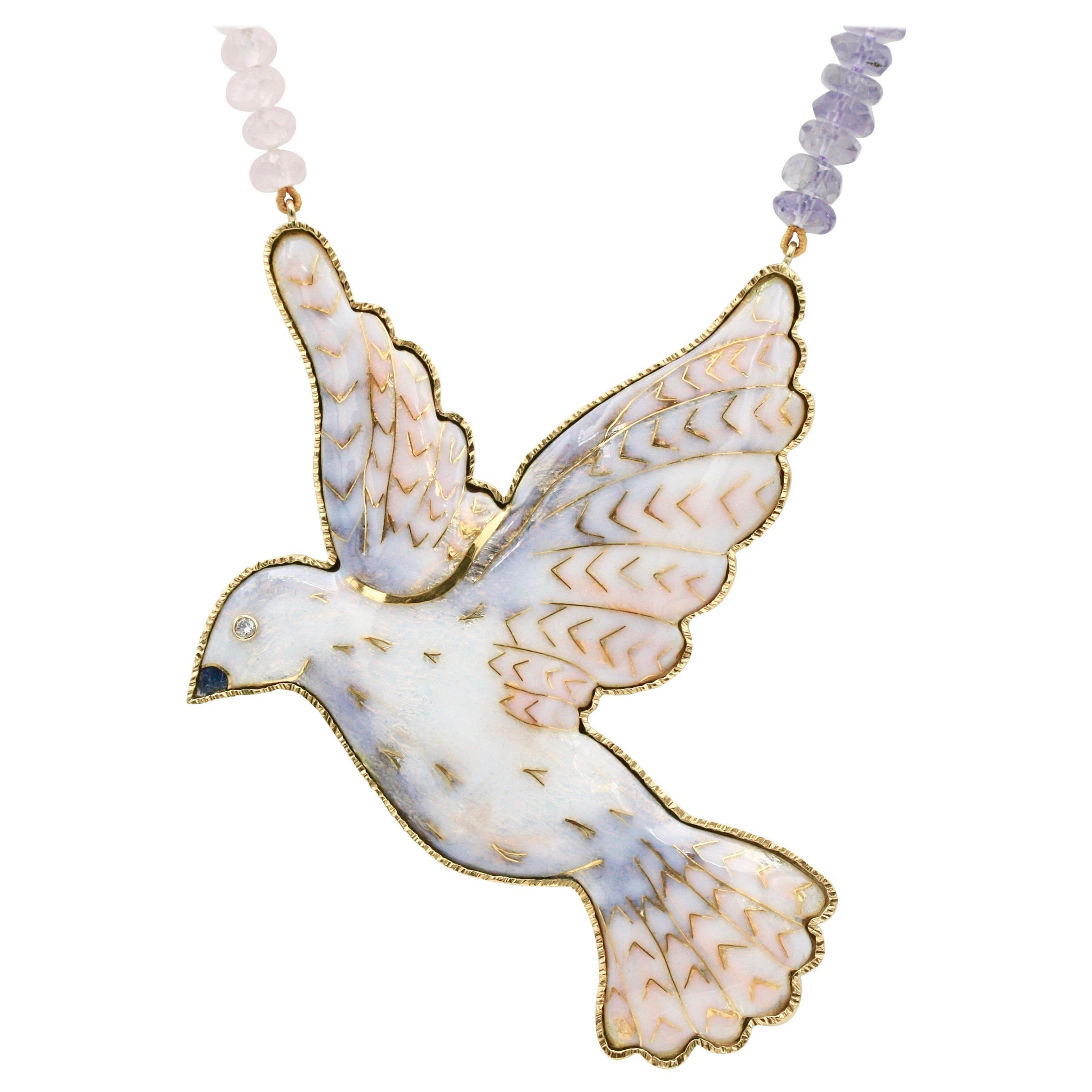 Cloisonné Enamel Dove 24 and 22 Karat Yellow Gold Diamond Necklace