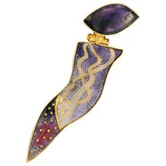 Cloisonné Enamel in 18, 22 and 24 Karat Gold, Silver and Amethyst Brooch