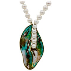 Cloisonné Enamel in 24 and 22 Karat Yellow Gold Fw Pearl Pendant Necklace