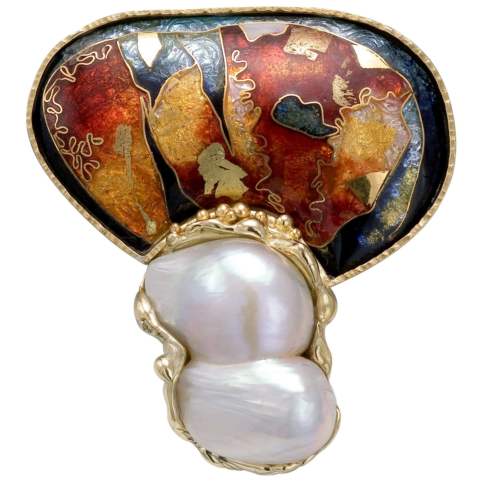 Cloisonné Enamel in 24 and 22 Karat Yellow Gold Pearl Brooch