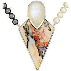 Cloisonné Enamel Moonstone Pendant Necklace