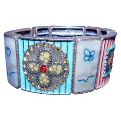 Cloisonné Enamel, Rhinestone and Antique Textile Bracelet