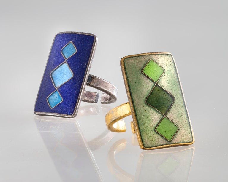Modern Cloisonné Enamel Ring with Green Diamonds by Sigfrid Gothstein, 1959 For Sale