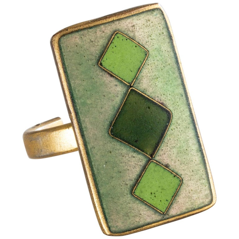 Cloisonné Enamel Ring with Green Diamonds by Sigfrid Gothstein, 1959 For Sale