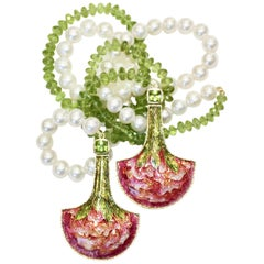 Cloisonné Pink Green Lariat with Peridots, Pearls in 24, 22 & 18 Karat, Unique