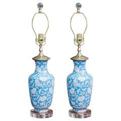 Pair of Cloisonné Powder Blue Vases as Lamps