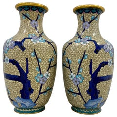 Cloisonne Vases, a Pair, Early to Mid 20th Century