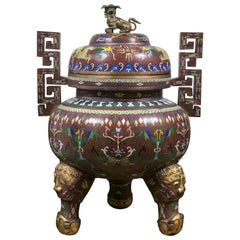 Cloissone Lidded Bronze Urn