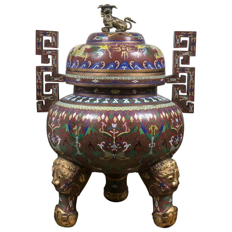 Cloissone Lidded Bronze Urn For Sale