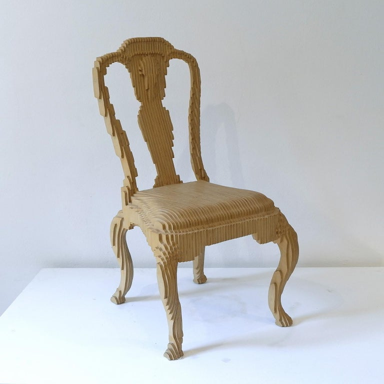 The clone chair is based on a Queen Anne chair from the collection of the Metropolitan museum in New York that has been sampled, digitized and recreated in plywood. The piece keeps an appreciation of the form and formality of the original, but has
