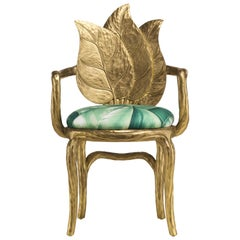 Clorophilla Hand Carved Armchair in Gold with Upholstered Seat