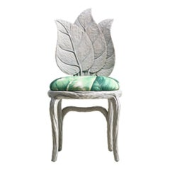 Clorophilla Hand Carved Dining Chair in Grey with Upholstered Seat