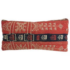 Antique Caucasian Woven Petite Lumbar Decorative Pillow
