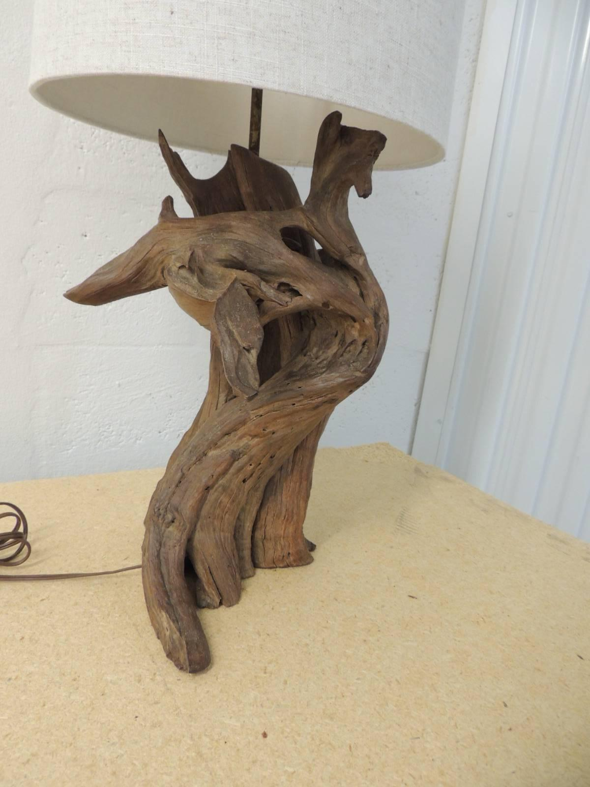 Vintage Cypress Driftwood Branch Table Lamp With Natural Linen Shade At 1stdibs