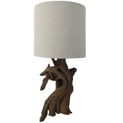 Vintage Cypress Tree Branch Table Lamp with Natural Linen Shade