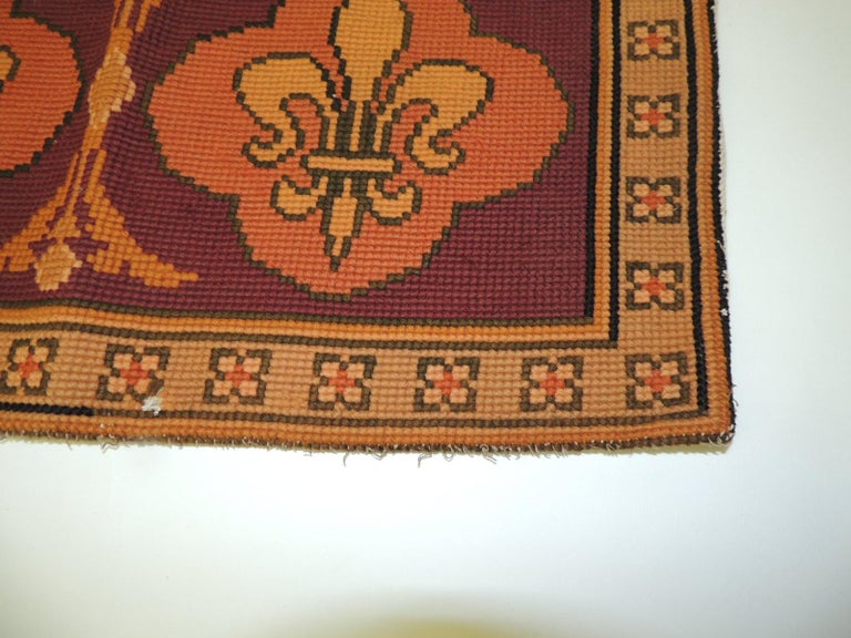 Baroque  Vintage Fleur-de-Lis Yellow and Red Tapestry For Sale