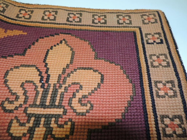 Hand-Crafted  Vintage Fleur-de-Lis Yellow and Red Tapestry For Sale