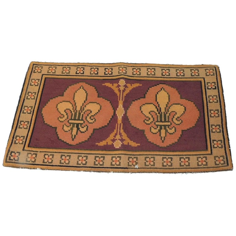 Vintage Fleur-de-Lis Yellow and Red Tapestry For Sale