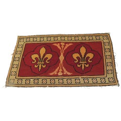 Vintage Fleur De Lis Yellow and Red Tapestry