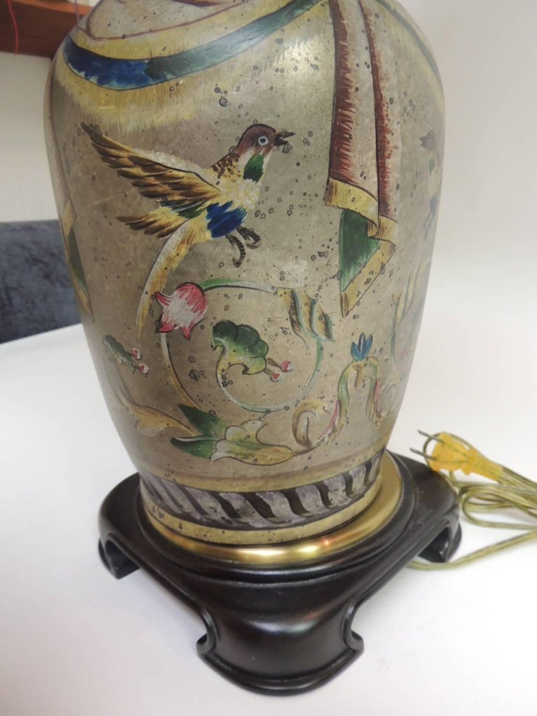 Vintage Hand Painted Ceramic Table Lamp For Sale At 1stdibs