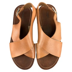 CLOSED Size 6 Tan Cross Strap Flat Sandals