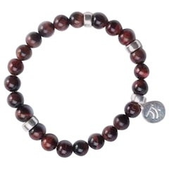 Closer Red Tiger's Eye with Sterling Silver Accent Bracelet