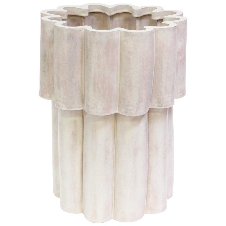 Cloud Contemporary Ceramic Planter in Cream For Sale