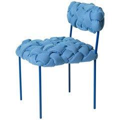 """Cloud"" Contemporary Chair with Handwoven Blue Upholstery"