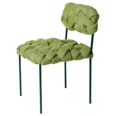 """Cloud"" Contemporary Chair with Handwoven Green Upholstery"