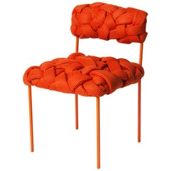 """Cloud"" Contemporary Chair with Handwoven Orange Upholstery"