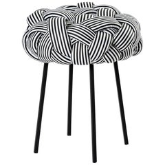 """Cloud"" Contemporary Small Stool with Handwoven B&W Upholstery"