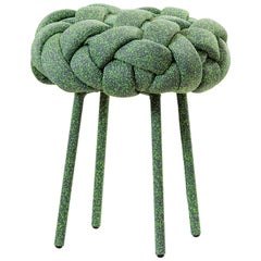 """Cloud"" Contemporary Small Stool with Handwoven Green Kvadrat Upholstery"