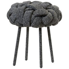 """Cloud"" Contemporary Small Stool with Handwoven Navy Kvadrat Upholstery"