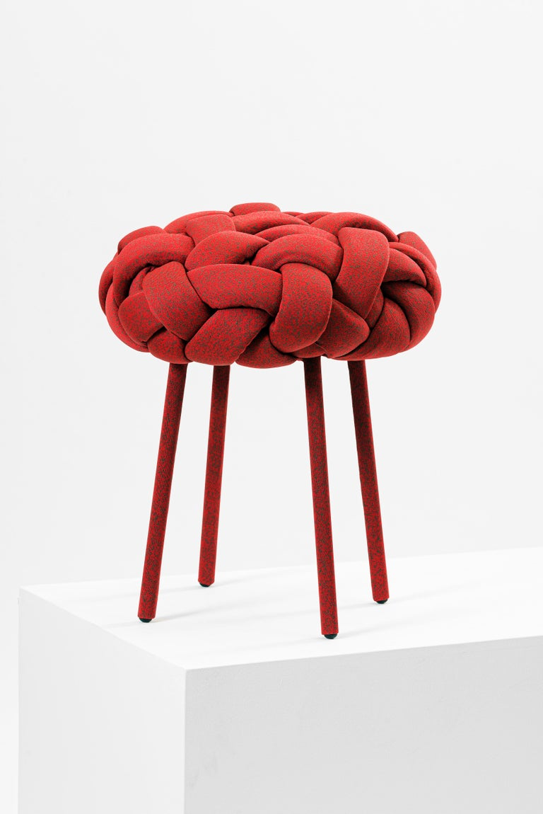 This contemporary stool is part of the cloud collection, which was created around the concept of trees. These contemporary stools and benches are made with cotton fabric and foam stripes, woven and stitched by hand. Each piece is unique, as the