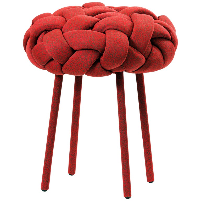 """""""Cloud"""" Contemporary Small Stool with Handwoven Red Kvadrat Upholstery For Sale"""