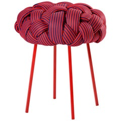 """Cloud"" Contemporary Small Stool with Handwoven Red Upholstery"