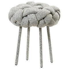 """Cloud"" Contemporary Small Stool with Handwoven White Kvadrat Upholstery"