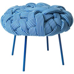 """Cloud"" Contemporary Stool with Handwoven Blue Upholstery"
