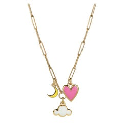 Cloud, Crescent Moon & Heart Pendant Necklace, 14K Yellow Gold with Enamel