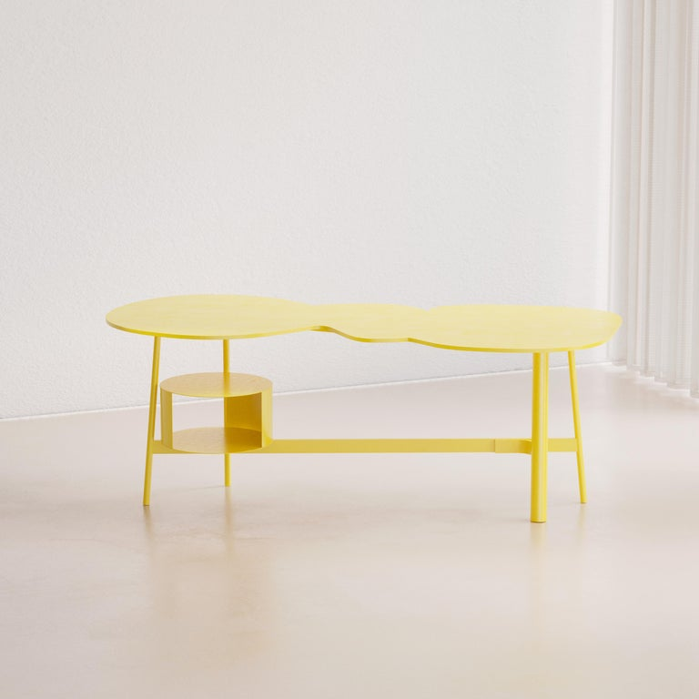 Cloud desk yellow work table inspired by an specific dream one night of June 2020.  Creator: Andrés Reisinger x Reisinger Studio  Production time: It will take 8-12 weeks to make this piece.