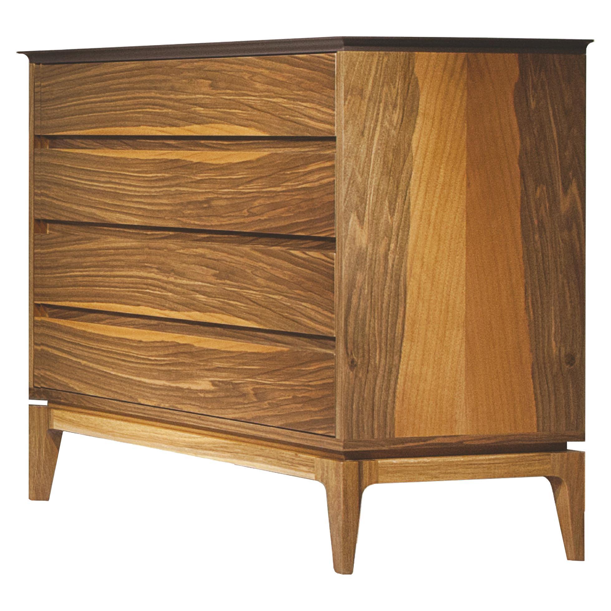 Cloud Dresser, Solid Walnut Wood Brown Top Bedroom Dresser