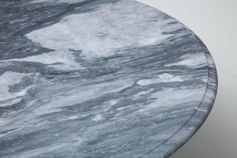 Mid-Century Modern Cloud Gray Marble Coffee Table with Olpe Stainless Steel Base For Sale