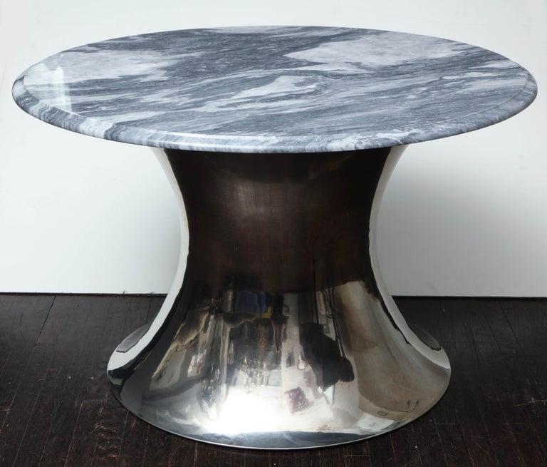 American Cloud Gray Marble Coffee Table with Olpe Stainless Steel Base For Sale