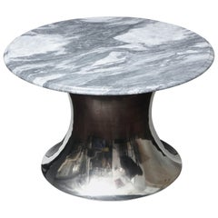 Cloud Gray Marble Coffee Table with Olpe Stainless Steel Base