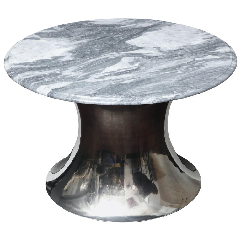 Cloud Gray Marble Coffee Table with Olpe Stainless Steel Base For Sale