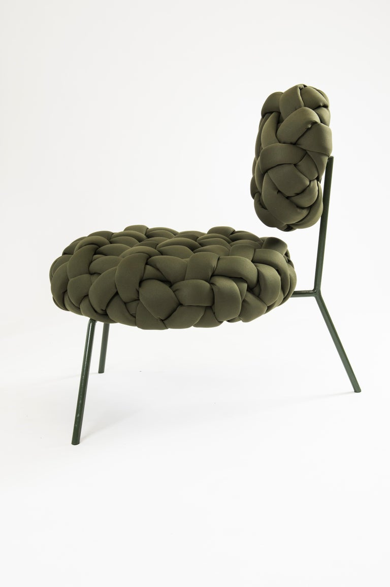 Brazilian Cloud Lounge Chair, Handmade Upholstery in Neoprene, Olive For Sale