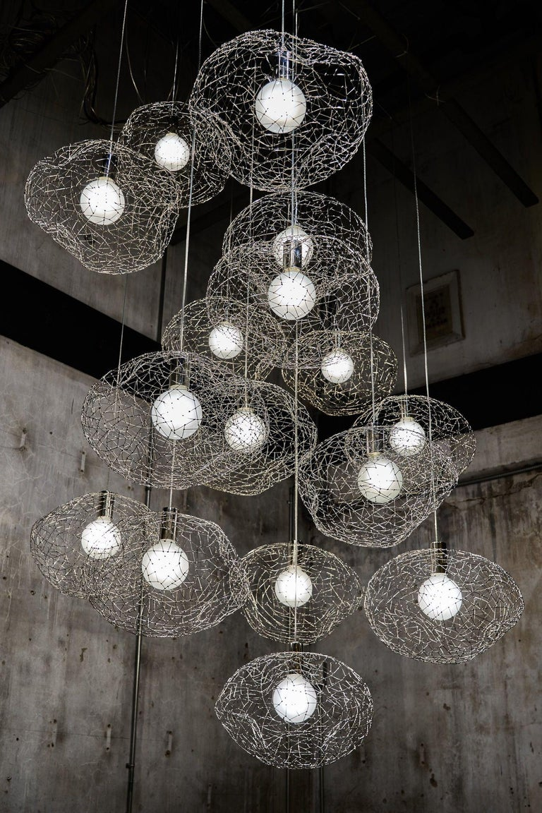 Steel Cloud Modern Pendant Light Within the Jewellery Series of Lighting by Ango For Sale