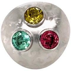 Georg Spreng - Cloud Ring Gold Platinum 950 Yellow, Green and Pink Tourmalines