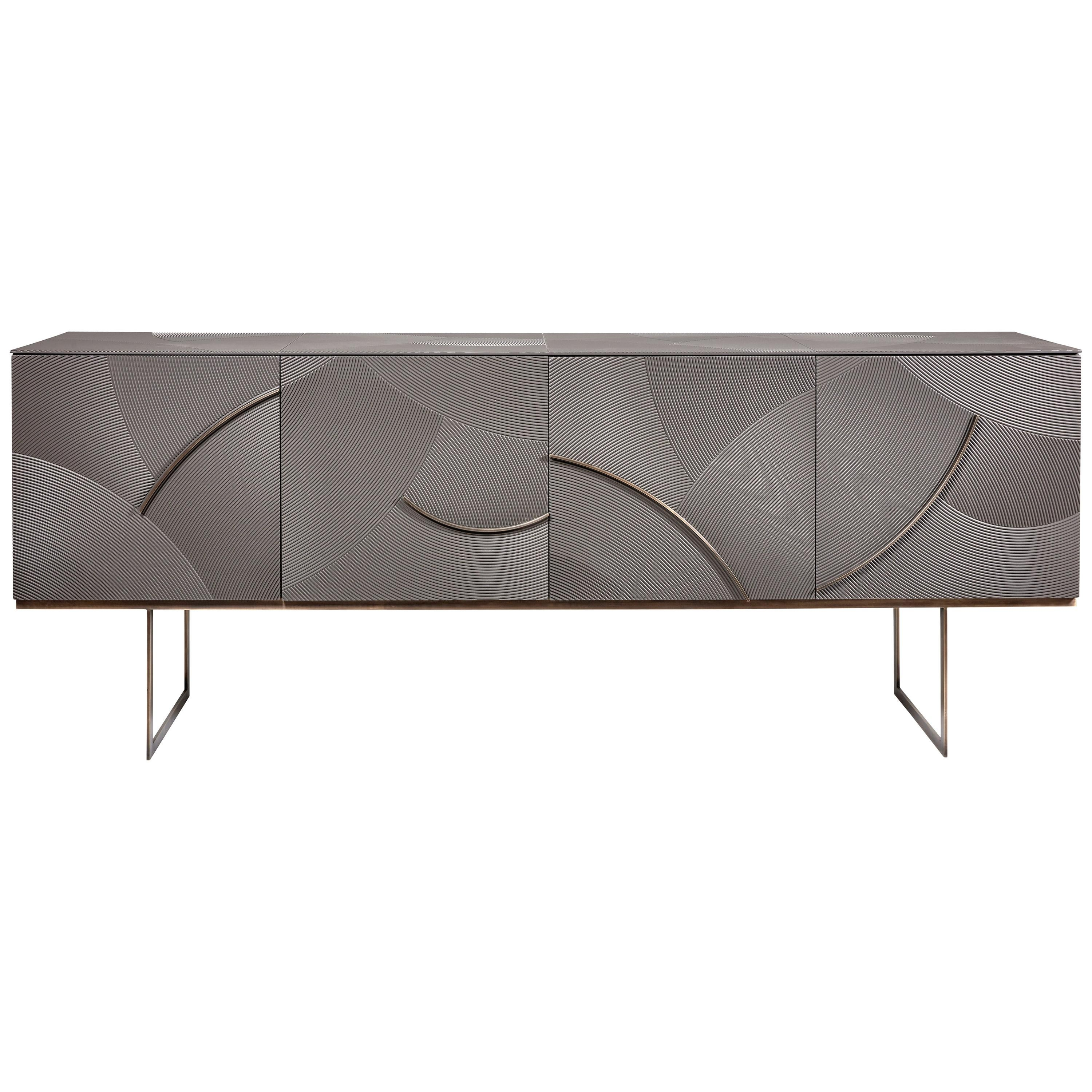 Cloud Sideboard, Carved, Flowing Waves Accented with Metal Legs and Detail