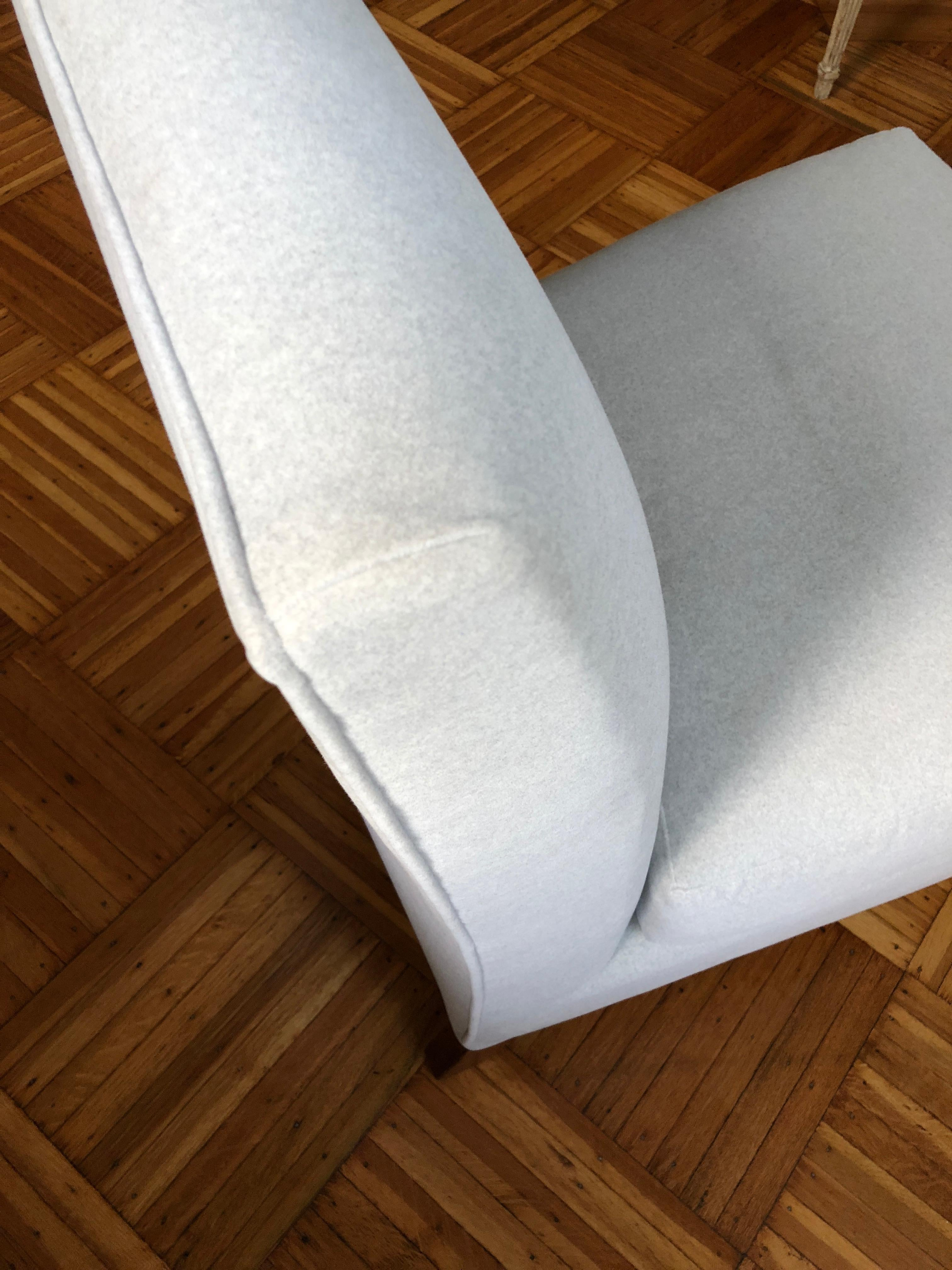 Cloud Slipper Chair Armless New Fabric Soft Gray Original Wood Casters In Stock